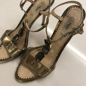 Parada gold jewel heels size 38.5